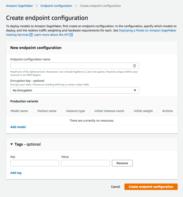 Create endpoint configuration