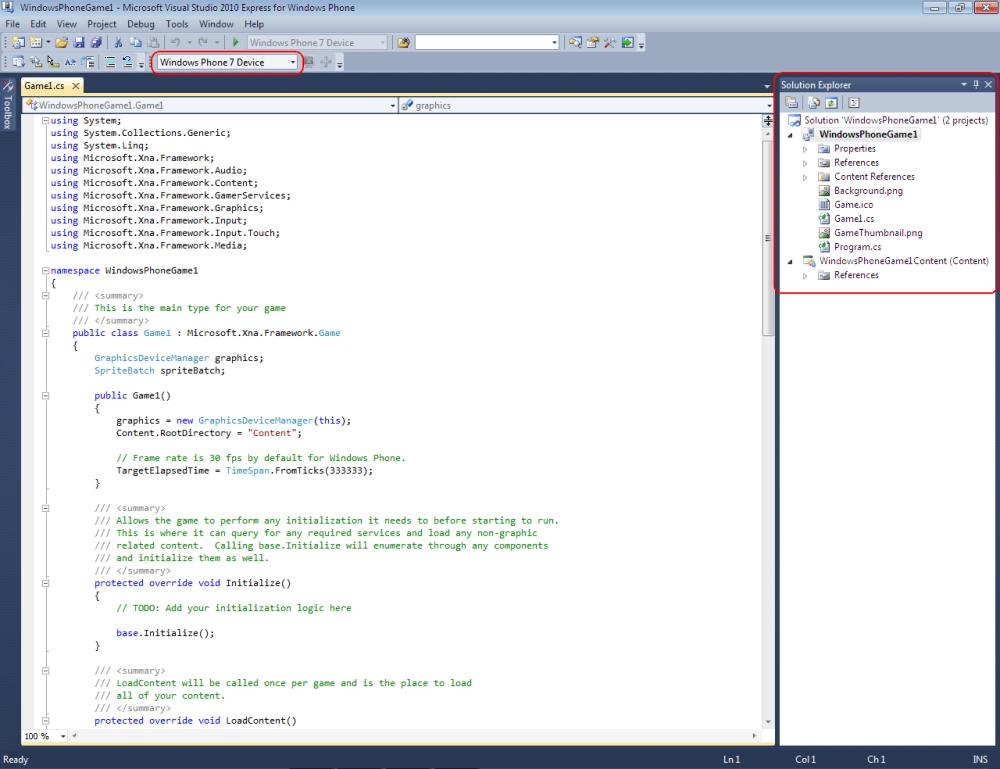 Windows Phone 7 Game Development Tutorial Lesson2 (2/6)