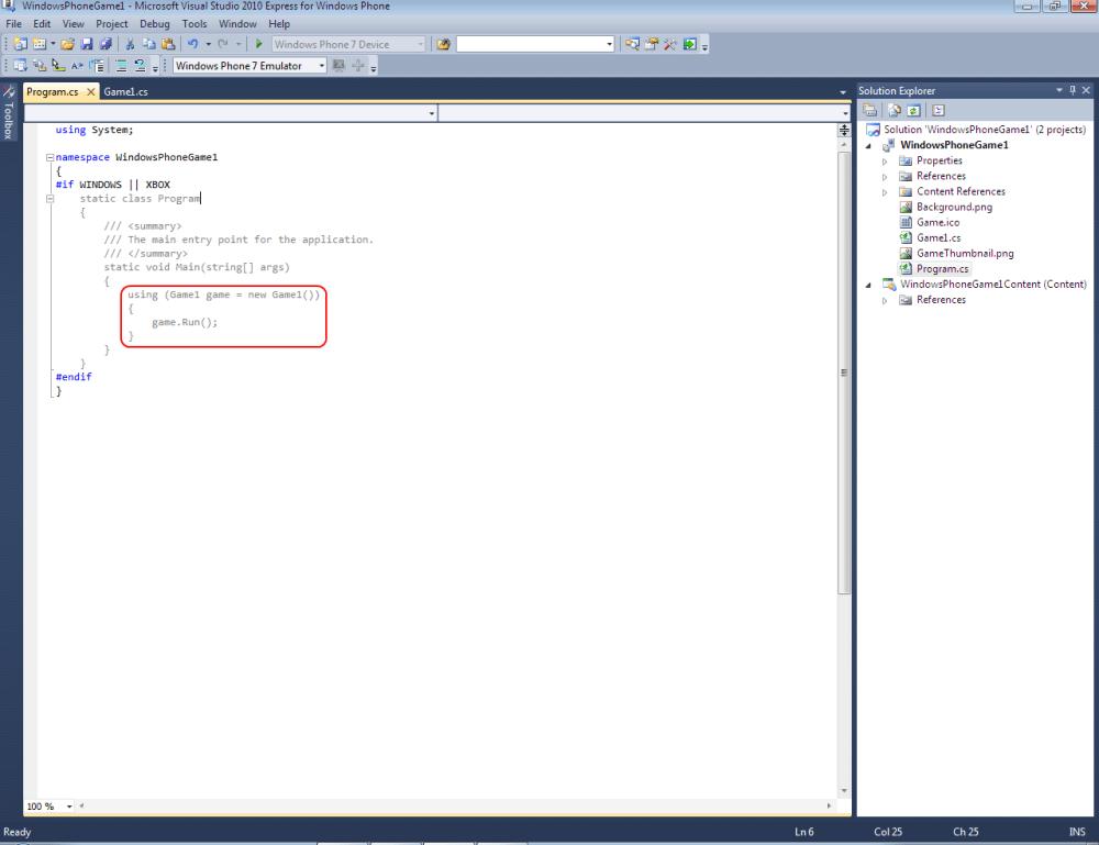 Windows Phone 7 Game Development Tutorial Lesson2 (3/6)