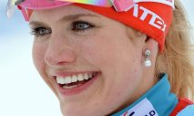 Gabriela Soukalova of the Czech Republic won silver in the 12.5 km mass start biathlon event.