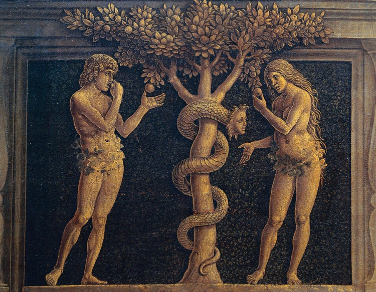 Adam and Eve committing original sin, detail from Virgin of Victory, 1496, by Andrea Mantegna (1431-1506), tempera on canvas, 280x166 cm
