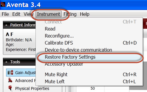 Screen shot 3 Restore Factory Settings