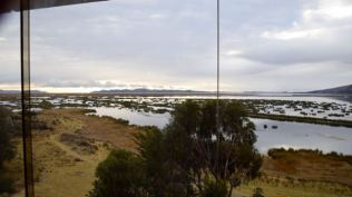 Early morning view of Lake Titicaca from our room