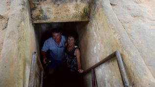 Greg and Deb coming out from their crawl