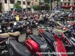 A crowded bike park.