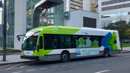 Electric Bus - notice the re-charging station.