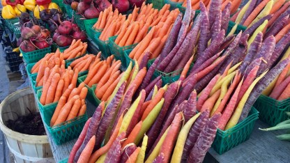 We hadn't seen purple or yellow carrots before.