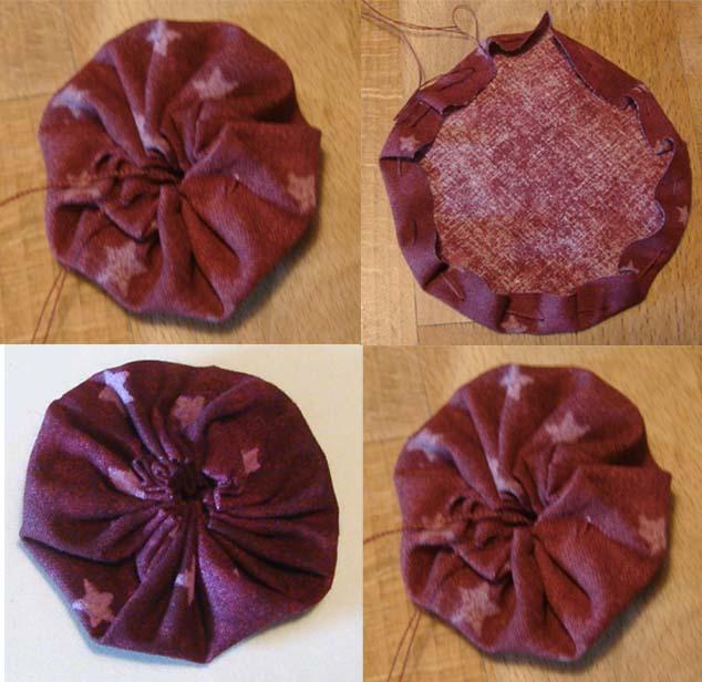 طريقة تنفيذ زهور اليويو من بواقى القماش-2