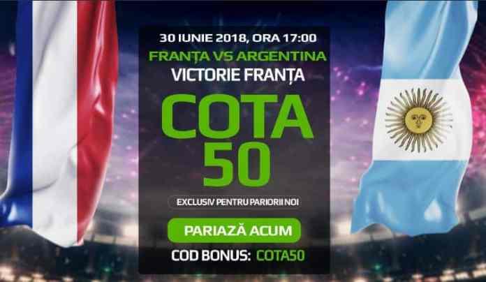 Cota 50.00 pentru victoria Frantei in meciul cu Argentina
