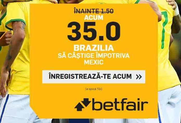 Cota 35.00 pentru Brazilia in meciul cu Mexic