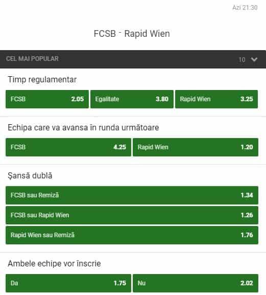 Pariaza 250 RON pe calificarea FCSB