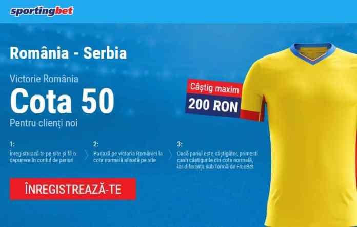 Cota 50.00 pentru Romania in meciul cu Serbia, duminica 14 octombrie
