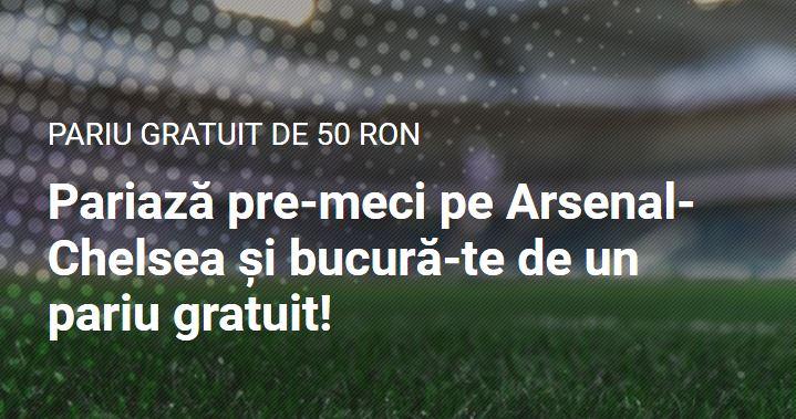 Promotii pariuri Arsenal vs. Chelsea: Pariaza 100 RON si primesti freebet 50 RON!