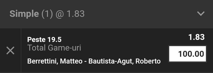 Ponturi la pariuri Matteo Berretini vs Roberto Bautista Agut