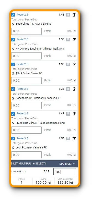 Biletu Europa League - peste 2,5 goluri