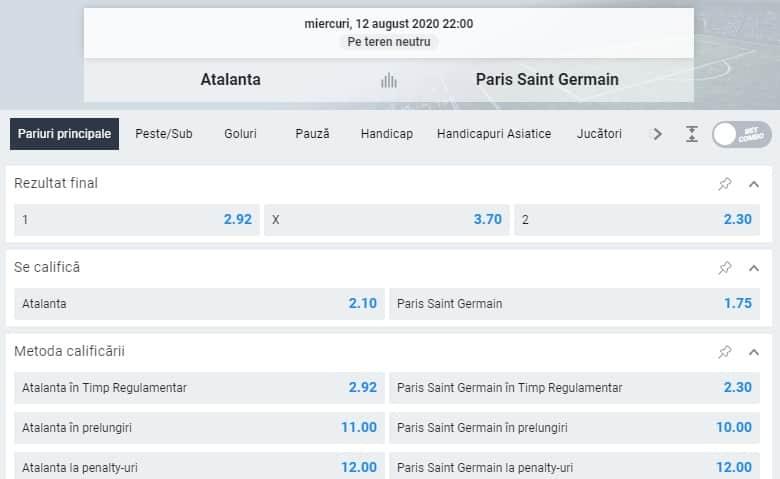 Cote la pariuri Atalanta PSG