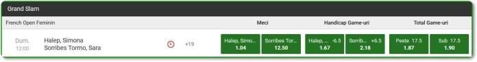 Cand joacă Simona Halep la Roland Garros - cote pariuri Halep vs. Sorribes