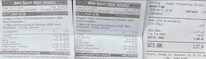 Bilete plasate - Alegeri SUA
