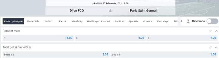 prezentare cote betano - dijon vs PSG - ligue 1