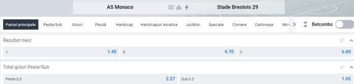 cote betano - monaco vs brest - ligue 1