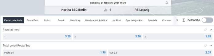 cote ponturi pariuri fotbal hertha vs rb leipzig - oferta betano