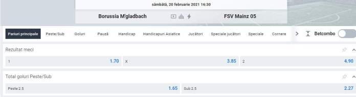 cote betano - monchenglabach vs mainz - bundesliga