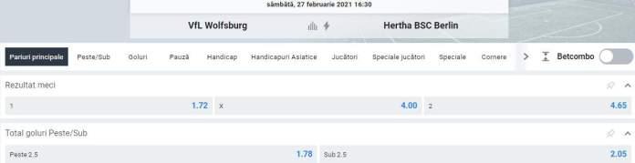 Prezentare cote Betano - Wofsburg vs Hertha