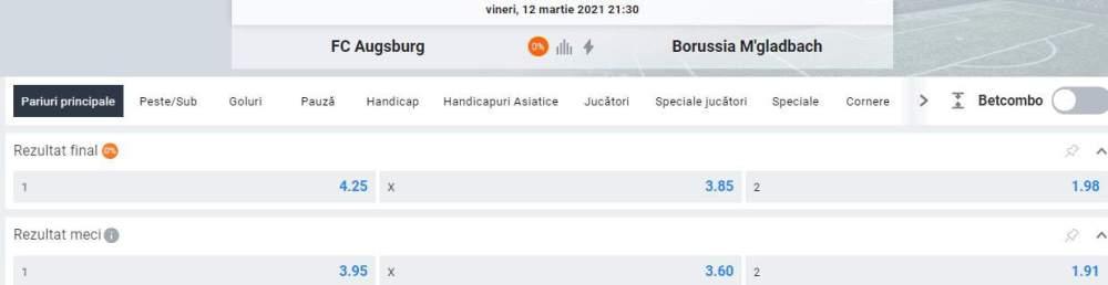 oferta betano - prezentare cote augsburg vs gladbach