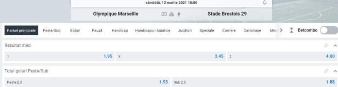 oferte betano - prezentare cote marseille vs brest