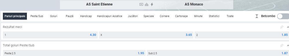 oferta betano - cote st etienne vs monaco - ligue 1