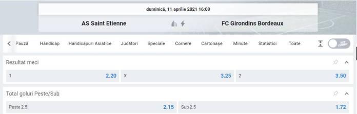 Ponturi pariuri AS Saint Etienne vs Bordeaux - Ligue 1