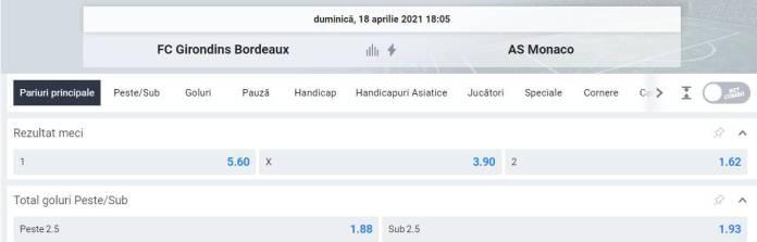 Ponturi pariuri Bordeaux vs AS Monaco - Ligue 1
