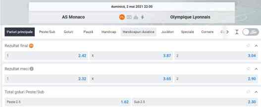 Ponturi pariuri AS Monaco vs Lyon - Ligue 1