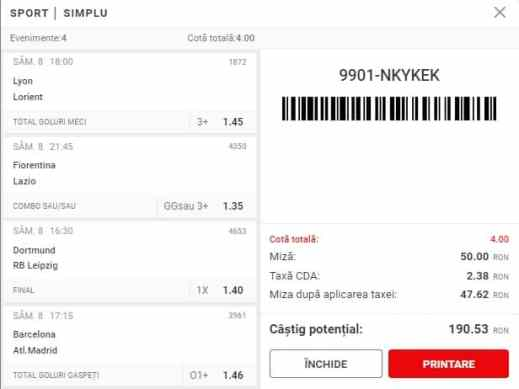 Biletul Superbet 08.05.2021