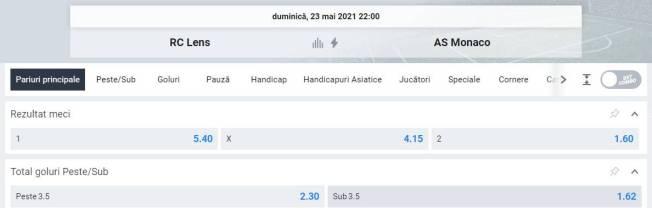 Ponturi pariuri Lens vs AS Monaco - Ligue 1