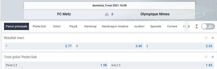 Ponturi pariuri Metz vs Nimes - Ligue 1