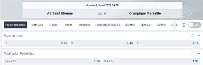 Ponturi pariuri Saint Etienne vs Marseille - Ligue 1