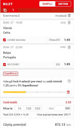 Bilet Superbet - Euro 2020 - Biletul zilei din fotbal 27.06.2021