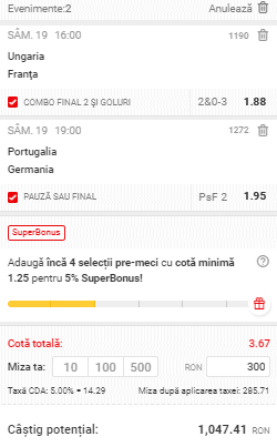 Biletul zilei din fotbal 19.06.2021
