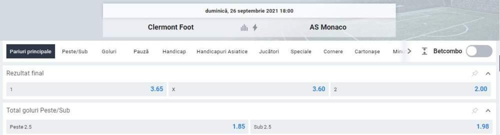Ponturi pariuri Clermont vs AS Monaco