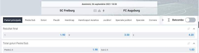 Ponturi pariuri SC Freiburg vs Augsburg