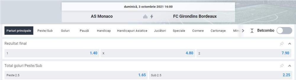 Ponturi pariuri AS Monaco vs Bordeaux
