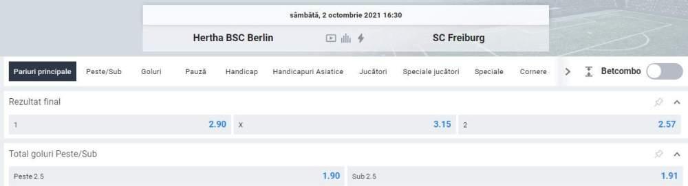 Ponturi pariuri Hertha vs SC Freiburg