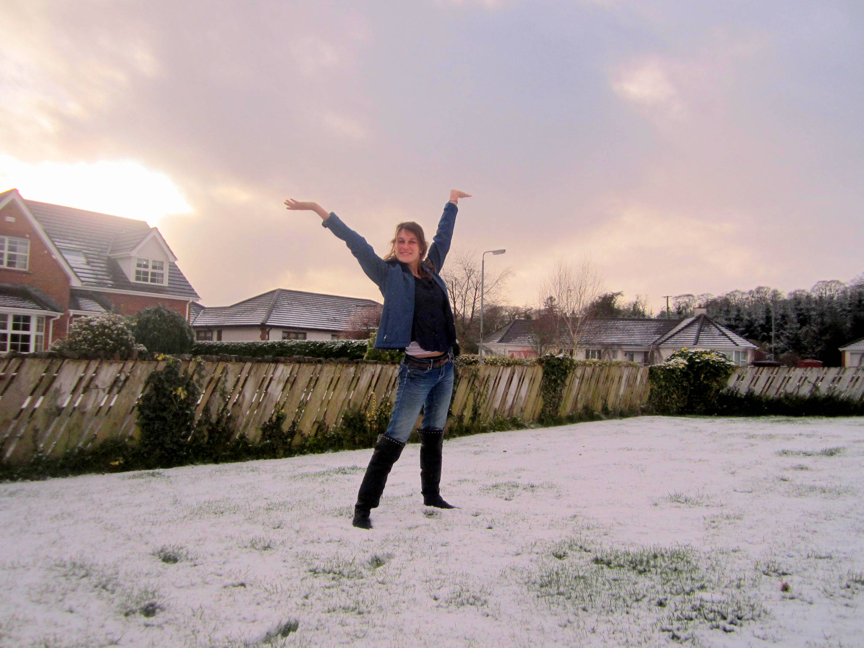 Nicole's first snow. Ballymoney, Northern Ireland