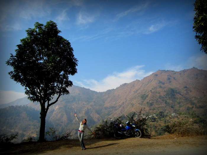 Our motorcycle. Somewhere along the road from Chitwan to Pokhara. Nepal