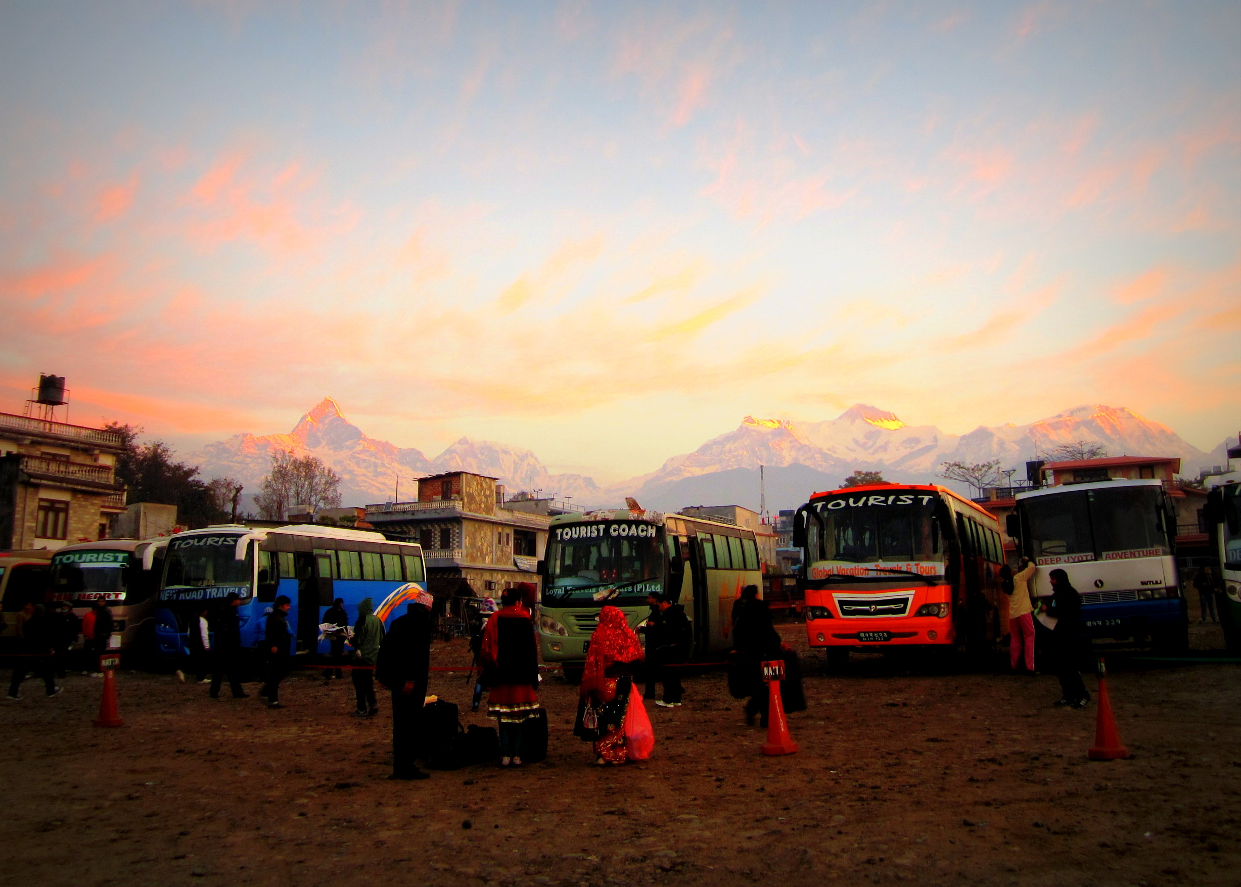 The sunrise as we caught a bus out of Pokhara back to Kathmandu, Nepal