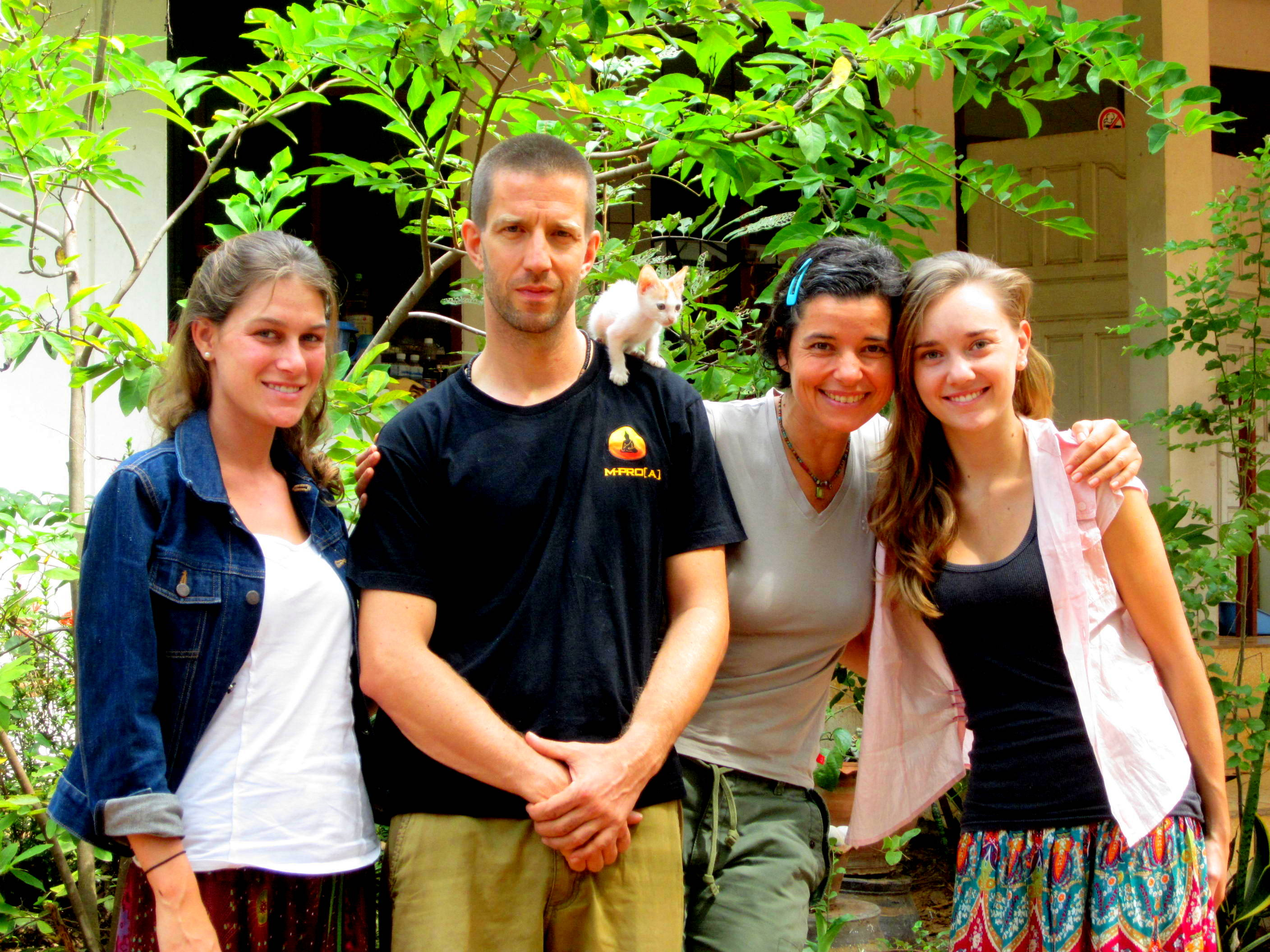 Nicole and I with Christian and Anja, the leaders of the Mindfulness Project in Khon Kaen, Thailand