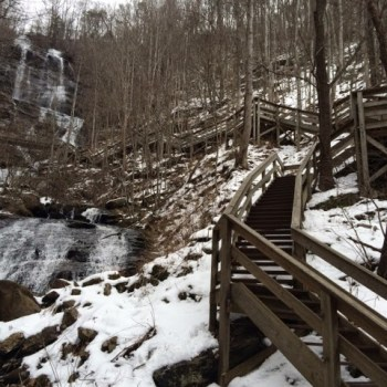 The first few hundred steps at Amicalola Falls.