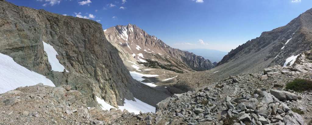 Shepherd Pass Summit on the Shepherd Pass Trail, just a little over 3 miles off the John Muir Trail (JMT).