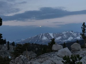 Capturing the last moon light at dawn on the way to ascend Mt. Whitney